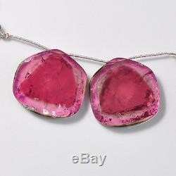108CT Rare Large Watermelon Tourmaline Slice Briolette Beads PAIR