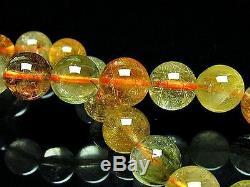 10MM Rare 3A Natural Golden Rutilated Quartz Round Beads Bracelet GIFT BL5737d