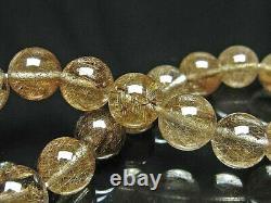 10MM Rare 4A Natural Black Golden Rutilated Quartz Round Bracelet GIFT BL7596f