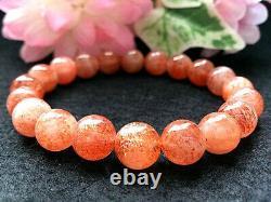 10MM Rare 5A Natural Golden Sunstone Gemstone Round Beads Bracelet GIFT BL8728d