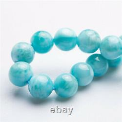 10mm Natural Larimar Blue Gemstone Dominica Women Round Beads Rare Bracelet AAAA