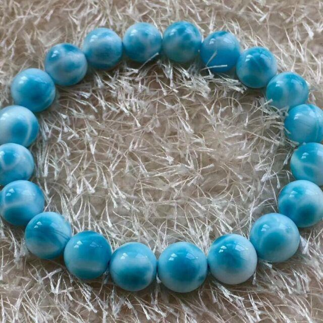 10mm Natural Larimar Blue Gemstone Round Beads Rare Bracelet Dominica Aaaaa