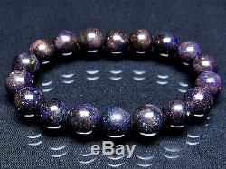 11MM Rare 7A Hight class Natural Black opal Round Beads Bracelet GIFT BL9979a