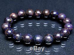 11MM Rare 7A Hight class Natural Black opal Round Beads Bracelet GIFT BL9979c