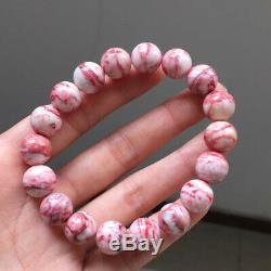 11.5mm Rare Natural Cinnabar bloodstone Gemstone Round Beads Bracelet AAAA