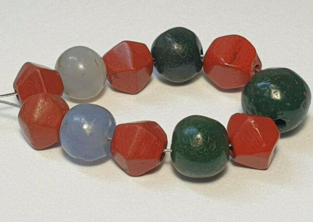 11 Ancient Rare Blue Chalcedony Agate & Red, Green Jasper Stone Beads
