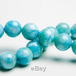11mm Natural Blue Larimar Gemstone Stretch Round Beads Rare Women Bracelet AAAA
