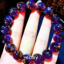 12.2mm Genuine Natural Starlight Auralite Crystal Beads Rare Bracelet AAAA