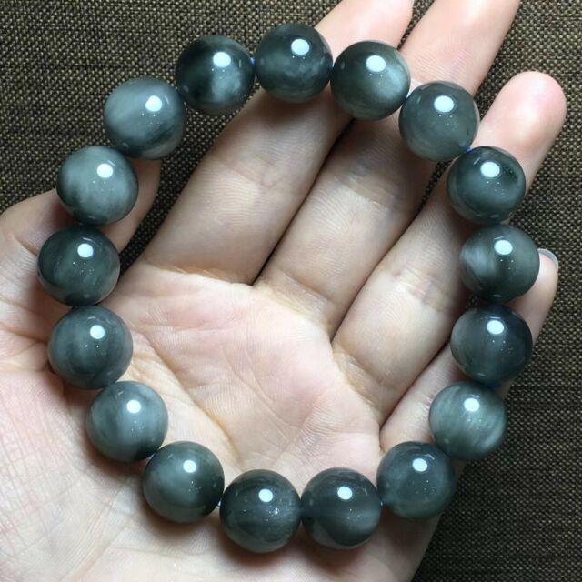 12.2mm Rare Natural Blue Rabbit Hair Quartz Crystal Round Beads Bracelet Aaaa