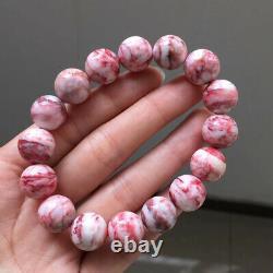 12.8mm Rare Natural Cinnabar bloodstone Gemstone Round Beads Bracelet AAAA