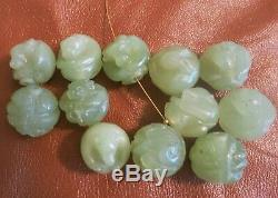 12 Rare Antique Vintage Chinese Carved Celadon Jade Zodiac Beads 18mm
