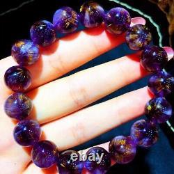 12mm Genuine Natural Starlight Auralite Crystal Beads Rare Bracelet AAAA