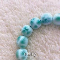 12x11mm Natural Larimar Blue Gemstone Round Beads Rare Bracelet Dominica AAAAA