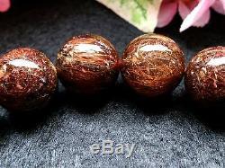 13MM Rare 5A Natural Bronze Golden Rutilated Quartz Round Bracelet GIFT BL7840c