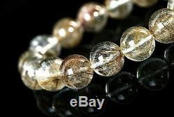 13MM Rare 5A Natural Silver Golden Rutilated Quartz Round Bracelet GIFT BL8434f
