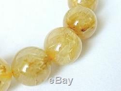 13MM Rare 6A Natural Elegant Golden Rutilated Quartz Round Bracelet GIFT BL9911c