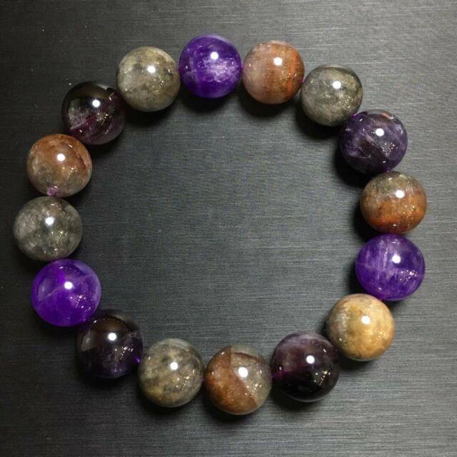 13.1mm Genuine Natural Auralite 23 Canada Crystal Beads Rare Bracelet Aaaa