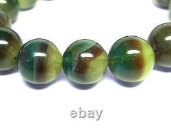13.5MM Rare 6A Natural Bi-Color Flow Light Quartz Round Bracelet GIFT BL8053f