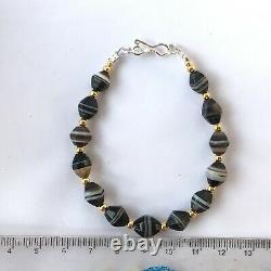 13 rare shape Ancient sulemani bhaisajyaguru agate stone bracelet bead #B258