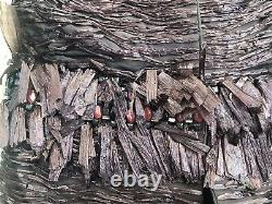 $1400 NEW maurizio pecoraro AVANT GARDE RARE RAFFIA GRASS BEADING STONE COAT 40