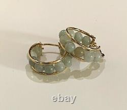 14K Gold & Jade Beads Hoop Earrings Rare Elegant New