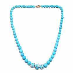 14K White G Over 35.9Ct AAAA Rare Sleeping Beauty Turquoise Beaded 20 Necklace