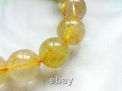 14MM Rare 5A Natural Clear Golden Rutilated Quartz Round Bracelet GIFT BL9905e