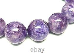 14MM Rare 7A Natural Russian Charoite Round Bracelet Angel Silica GIFT BL9991c