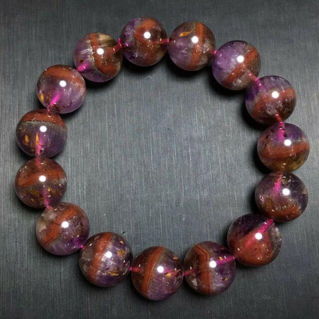 14.2mm Genuine Natural Auralite 23 Canada Crystal Beads Rare Bracelet Aaaa