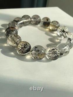 14.3mm Rare Natural Viewing Stone Tree Quartz Crystal Gemstone Bracelet AAA