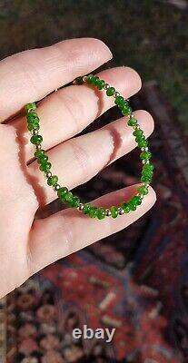 14k Gold 5mm RARE Emerald Green Russian Chrome Diopside Bead Bracelet ALL SIZES
