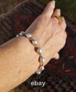 14k Gold Akoya 9mm Japanese Sea Pearl Genuine RARE Silver Blue Bracelet ++more