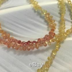 14k Rare Natural Padparadscha Sapphire Ombre Briolette Faceted Beads Necklace 18