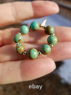 14k Solid Gold RARE GREEN Crow Springs Turquoise Bead 8mm Pendant Necklace