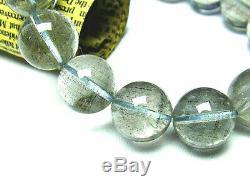 15MM Rare 3A Natural Blue Tourmaline Rutilated Quartz Round Bracelet GIFT BL324f
