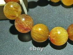 15MM Rare 5A Natural Titin Golden Rutilated Quartz Round Bracelet GIFT BL5776a