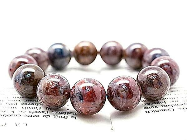 15.5mm 6a Rare Natural Pietersite Blue Red Yellow Round Bracelet Gift Bl9909d