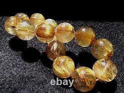 15.5MM Rare 7A Natural Golden Rutilated Quartz Round Beads Bracelet GIFT BL9981c