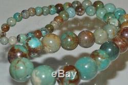 15.5 Rare Old Stock/AAAAGenuine HUBEI TURQUOISE Graduated Round Beads M1296