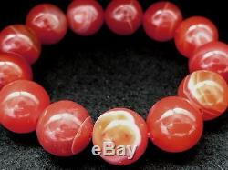 16MM Rare 5A Natural Red Browned Clairvoyant Agate Round Bracelet GIFT BL1307c