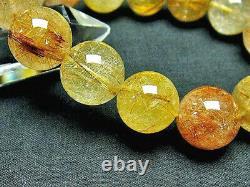 16MM Rare 5A Natural Titin Golden Rutilated Quartz Round Bracelet GIFT BL9110e