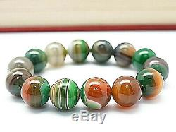 16MM Rare 6A Natural Green Browned Clairvoyant Agate Round Bracelet GIFT BL9019d