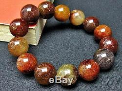 16.5MM Rare 5A Natural Bronze Golden Rutilated Quartz Beads Bracelet GIFT BL542c