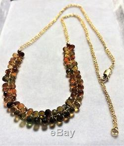 18K YG Natural Multi Color Rare Dravite Tourmaline Briolette Shape Bead Necklace