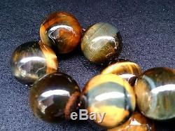 18MM 5A Rare Gorgeous Natural Golden Blue Tiger Eye Round Bracelet GIFT BL9881c