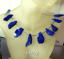 18 RARE NATURAL BLUE LAPIS LAZULI BRIOLETTE FOCAL NUGGET BEADS 357ctw 24-36mm