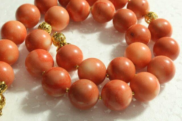 18 K Loveliness 100% Natural Coral Hand Carved Organic Rare Round Necklace Beads