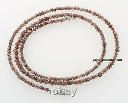 20.12 ct Rare Natural Red Rough Loose Diamond Beads 16 Necklace. Silver Clasp