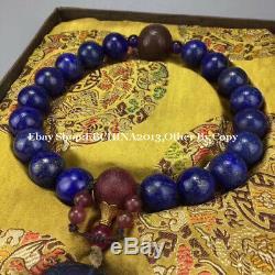 20mm Rare China Natural Lapis lazuli Stone Buddha 18 Beads Bracelet Bangle