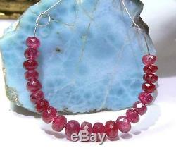 21 RARE GEM GRADE NATURAL FACETED RUBY RED SPINEL BEADS STRAND 22.5ctw 4.5-6mm